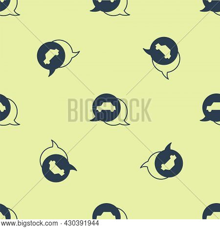Blue Car Service Icon Isolated Seamless Pattern On Yellow Background. Auto Mechanic Service. Repair