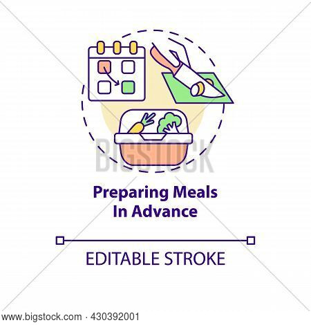 Preparing Meals In Advance Concept Icon. Prep Foods Ahead Abstract Idea Thin Line Illustration. Prep