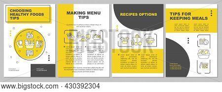 Meal Planning Tips Yellow Brochure Template. Making Menu. Flyer, Booklet, Leaflet Print, Cover Desig