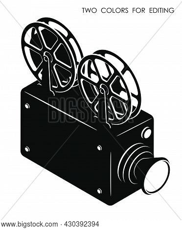 Monochrome Old Camcorder. Filming Movie On Retro Instrument. Film Recording Of Movie. Isometric Vect