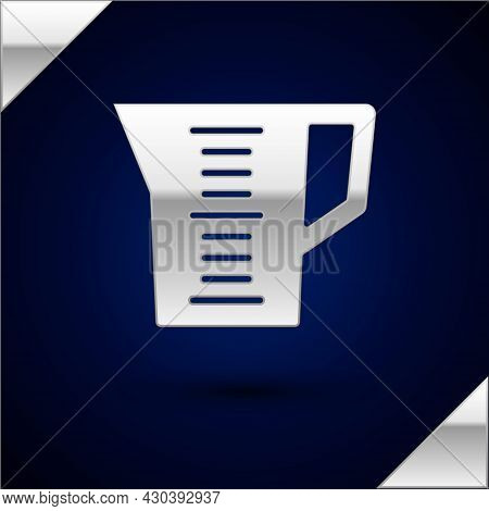 Silver Measuring Cup To Measure Dry And Liquid Food Icon Isolated On Dark Blue Background. Plastic G