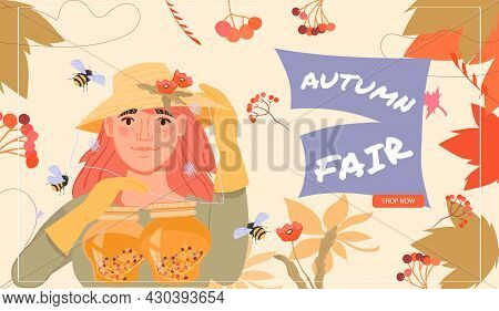 Autumn Fair Web Banner Template With Beekeeper Woman Offer Her Honey Products, Flat Vector Illustrat