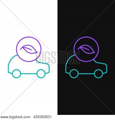 Line Eco Car Concept Drive With Leaf Icon Isolated On White And Black Background. Green Energy Car S