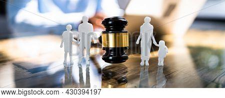 Gavel At Divorce Court. Litigation And Justice