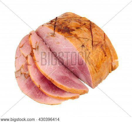Honey Glazed Roast Ham Joint Isolated On A White Background