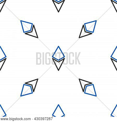 Line Cryptocurrency Coin Ethereum Eth Icon Isolated Seamless Pattern On White Background. Altcoin Sy