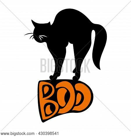 Halloween Illustration. A Black Cat Stands On The Boo Lettering.