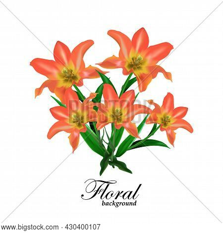 Bouquet Of Flowers. Bunch Of Yellow Orange Tulips With Leaves. Realistic Vector Greeting Card Poster