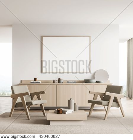 Horizontal Banner In The Light Beige Interior Of The Seating Area. Design With Partition Wall, Two A