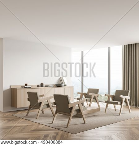 Light Beige Interior Of The Panoramic Seating Area. Design, Using White Wall Partition, Four Armchai