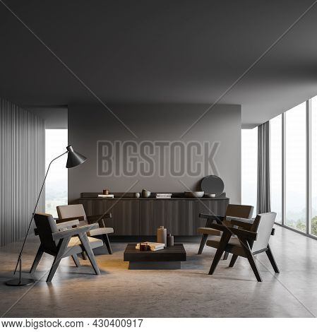 Dark Grey Interior Of The Panoramic Seating Area. Design With Empty Wall Partition, Four Armchairs,
