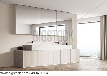 Mirror Cabinet, Hanging On The Partition Wall Of Panoramic Beige And White Bathroom Interior Design