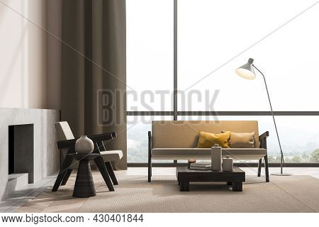 Panoramic Beige Living Room Interior With Two Seater Sofa, Armchair, Two Coffee Tables, Lamp, Baseme
