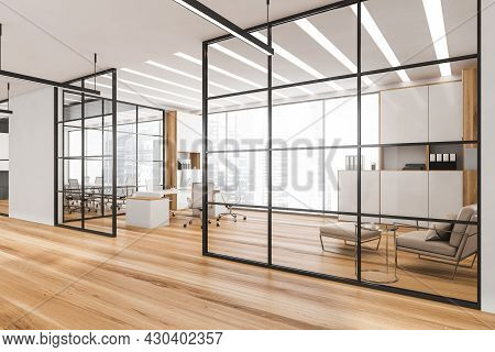 Ceo Office Interior With Black Frame Glass Wall Partitions, Led Linear Lights, Two On Trend Cabinets