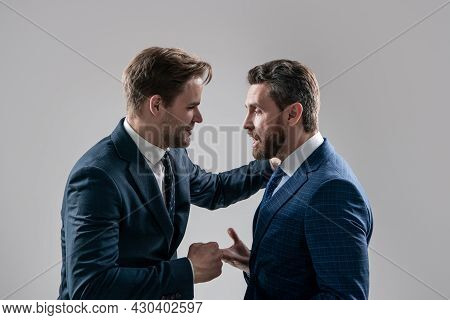Boss And Employee. Disagreed Men Partners. Business Competition. Businessmeeting.