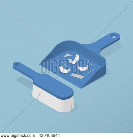 Isometric Home Scoop And Brush For Cleaning Vector Illustration. Hygienic Plastic Equipment For Swee