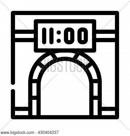 Metro Underground Clock Line Icon Vector. Metro Underground Clock Sign. Isolated Contour Symbol Blac