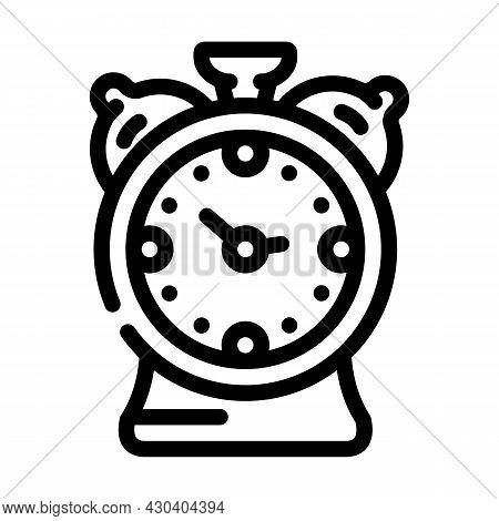 Alarm Clock Line Icon Vector. Alarm Clock Sign. Isolated Contour Symbol Black Illustration