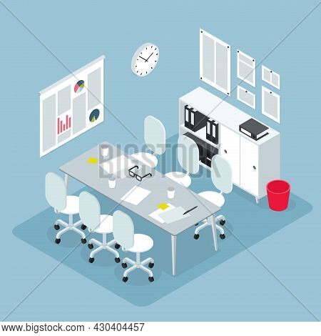 Isometric Office Workspace For Team Meeting Illustration. Empty Modern Workplace Teamwork, Conferenc