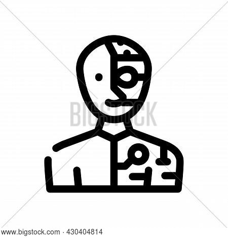 Cyborg Fantasy Character Line Icon Vector. Cyborg Fantasy Character Sign. Isolated Contour Symbol Bl