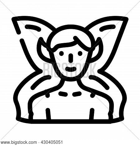 Fairy Fantasy Character Line Icon Vector. Fairy Fantasy Character Sign. Isolated Contour Symbol Blac