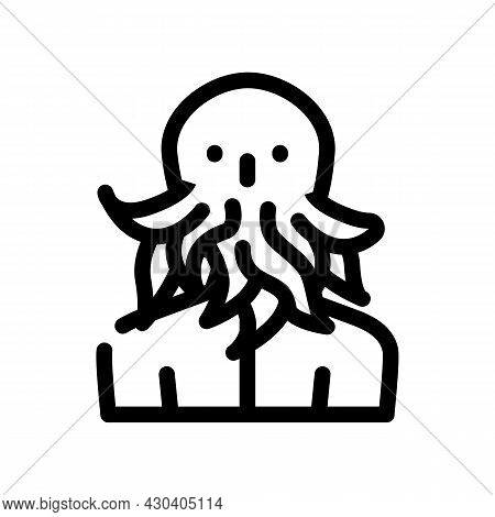 Cthulhu Fantasy Character Line Icon Vector. Cthulhu Fantasy Character Sign. Isolated Contour Symbol