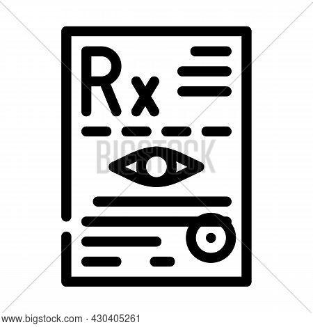 Recipe Ophthalmology Line Icon Vector. Recipe Ophthalmology Sign. Isolated Contour Symbol Black Illu