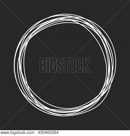 Grungy Round Scribble Circle With Chalkboard Effect