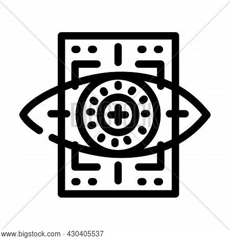 Eye With Mesh Ophthalmology Line Icon Vector. Eye With Mesh Ophthalmology Sign. Isolated Contour Sym