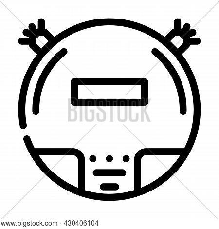 Vacuum Cleaner Robot Line Icon Vector. Vacuum Cleaner Robot Sign. Isolated Contour Symbol Black Illu