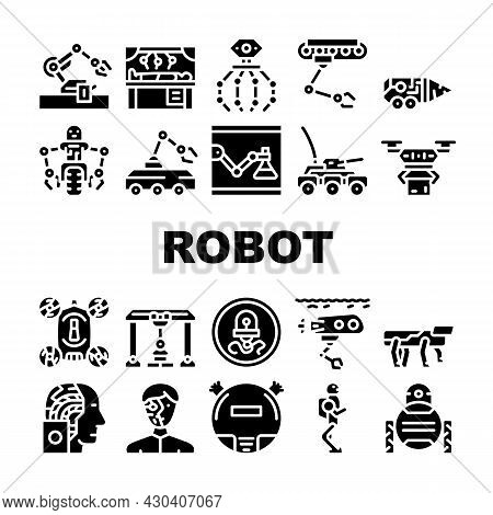 Robot Future Electronic Equipment Icons Set Vector. Military And Underwater Robot, Vacuum Cleaner An