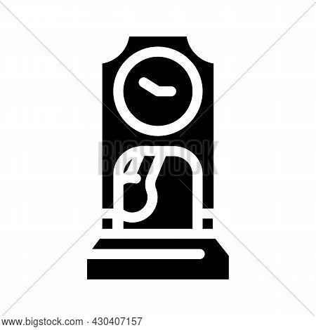 Floor Antique Clock Glyph Icon Vector. Floor Antique Clock Sign. Isolated Contour Symbol Black Illus