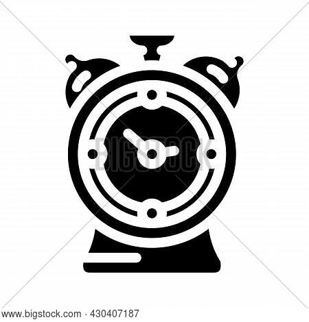 Alarm Clock Glyph Icon Vector. Alarm Clock Sign. Isolated Contour Symbol Black Illustration