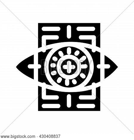 Eye With Mesh Ophthalmology Glyph Icon Vector. Eye With Mesh Ophthalmology Sign. Isolated Contour Sy