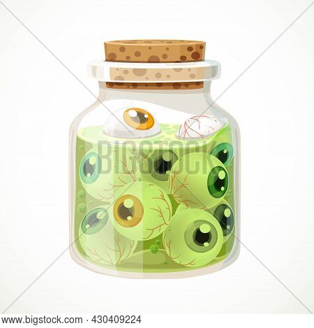 Glass Jar With Eyeballs Isolated On A White Background