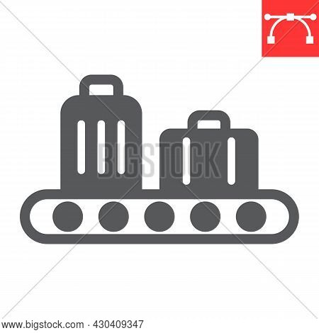 Baggage Claim Glyph Icon, Airport And Luggage, Baggage Claim Vector Icon, Vector Graphics, Editable