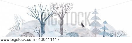 Winter forest landscape. Lovely trees in snowdrifts. Hprizontal banner.