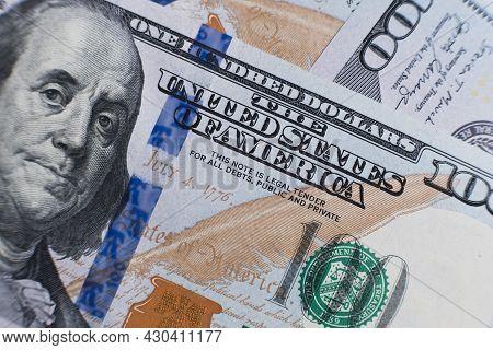 American Dollar Banknotes Close Up. Americans Dollars Macro Shooting. Inflation Concept. Closeup New
