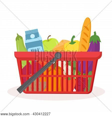 Red Supermarket Basket With Products Isolated On White. Shopping Basket With Healthy, Fresh, Organic