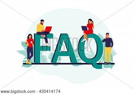 Faq. Frequently Asked Questions Concept. People Ask Questions And Receive Answers. Support Center. V