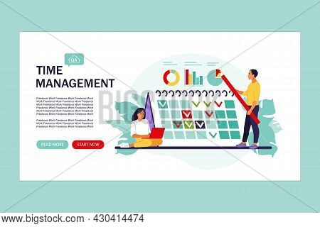 Timing And Project Scheduling. Landing Page. Concept Of Time Management, Work Planning Method, Organ