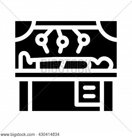 Robot Doing Surgery Operation Glyph Icon Vector. Robot Doing Surgery Operation Sign. Isolated Contou