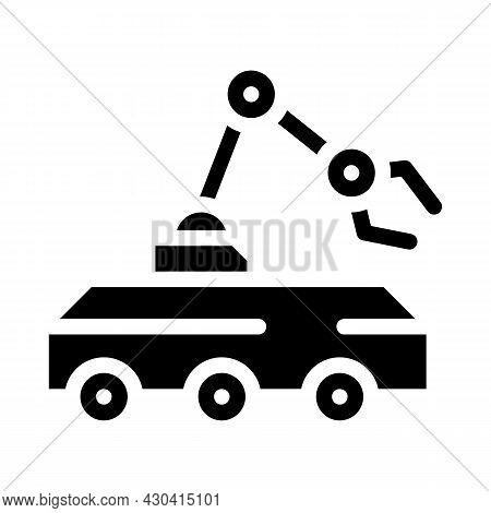 Mine Neutralization Robot Glyph Icon Vector. Mine Neutralization Robot Sign. Isolated Contour Symbol