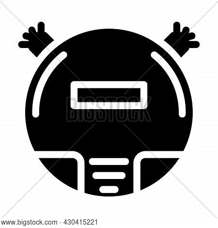 Vacuum Cleaner Robot Glyph Icon Vector. Vacuum Cleaner Robot Sign. Isolated Contour Symbol Black Ill