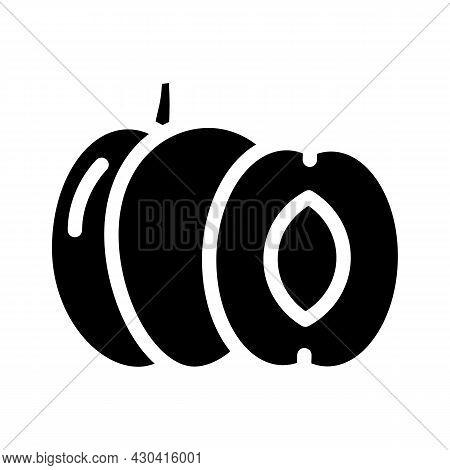 Plum Fruit Glyph Icon Vector. Plum Fruit Sign. Isolated Contour Symbol Black Illustration