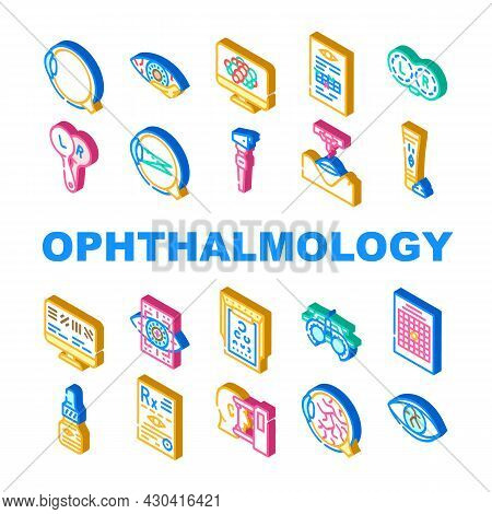 Ophthalmology Eye Disease Treat Icons Set Vector. Amsler Table And Retinoscope, Lasser Correction An