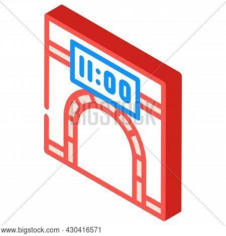 Metro Underground Clock Isometric Icon Vector. Metro Underground Clock Sign. Isolated Symbol Illustr