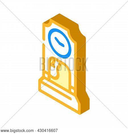 Floor Antique Clock Isometric Icon Vector. Floor Antique Clock Sign. Isolated Symbol Illustration