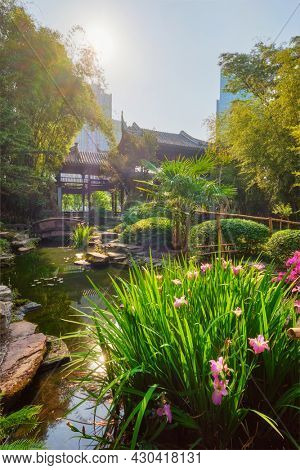 Chinese garden park in China - Wangjiang Pavilion (Wangjiang Tower) Wangjianglou Park. Chengdu, Sichuan, China