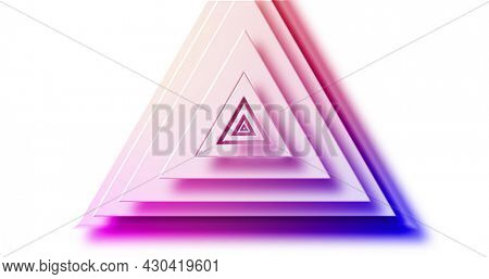 Image of rainbow coloured triangle layers pulsating on white background. pattern, colour and movement concept digitally generated image.